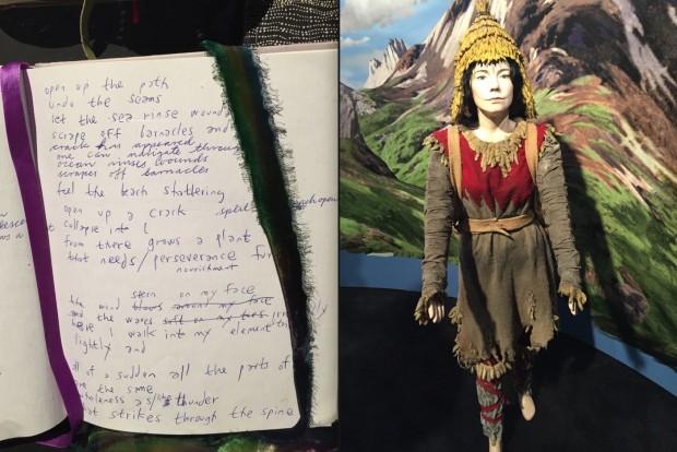 Rascunho de composição de Björk e figurino tribal do video Wanderlust, 2007. (Crédito: Marcelo Bernardes)