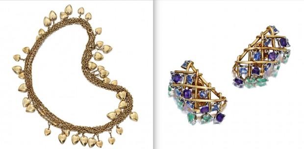 Leilão de itens das casas de Bacall: colar Tifanny's e brinco do amigo Jean Schlumberger (Crédito: Divulgação)
