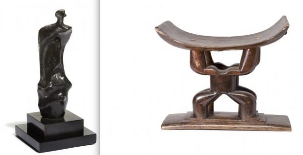 Escultura de Henry Moore e móvel de arte tribal que a atriz adquiriu na África (Crédito: Divulgação)