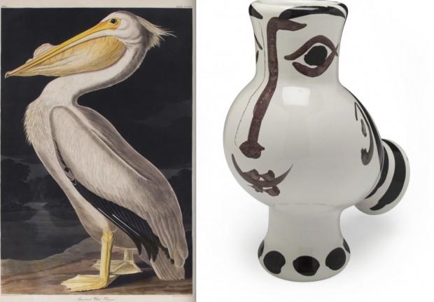 Uma das gravuras de pelicano da coleção da atriz e cerâmica de Pablo Picasso (Crédito: Divulgação)