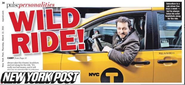 O taxista Alexander Sokovikov na edição de hoje do New York Post. (Crédito: Reprodução)