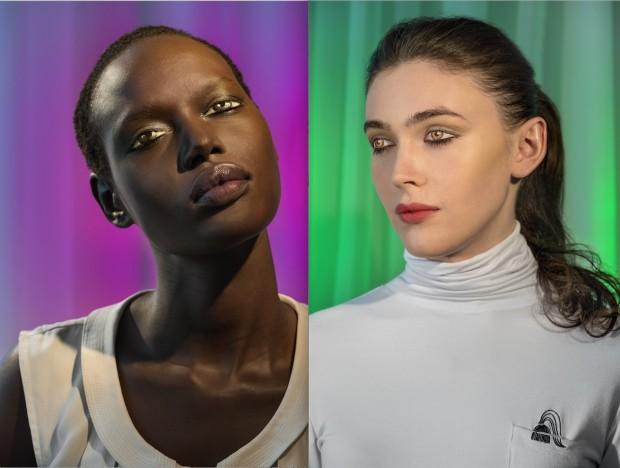 As modelos Ajak (violeta) e Edie (verde) tiveram maquiagem aplicada em cima de seus olhos fechados. (Crédito: Divulgação)