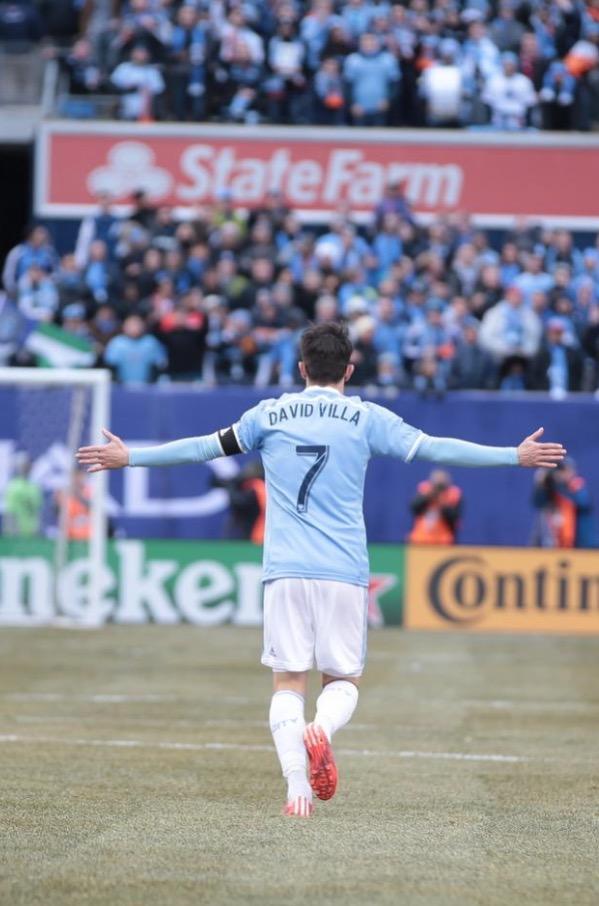 David Villa após abrir o placar na tarde de hoje. (Crédito: Cortesia NYCFC)