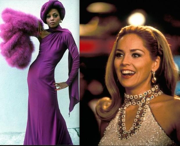 """Inspiração da figurinista Rita McGhee para o guarda-roupa de Cookie: Sharon Stone e Diana Ross, respectivamente, nos filmes """"Cassino"""" e """"Mahogany"""" (Crédito: Divulgação)"""