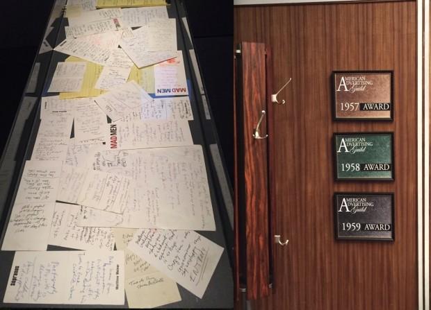 Papelada na qual Matthew Weiner escrevia ideias para os seriados The Sopranos e Mad Man; parede do escritório de Don Draper e seus prêmios publicitários em exposição no Museu of the Moving Image, no bairro do Queens, em Nova York. (Fotos: Marcelo Bernardes)