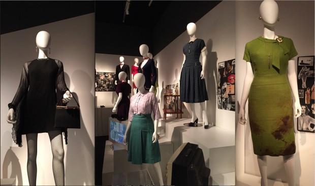 """Mais de 30 figurino criados por Janie Bryant estão expostos no Queens: o vestido preto """"Zou Bisou Bisou"""" de Megan Draper, a roupa das secretárias da Sterling Cooper, e o vestido verde ensanguentado (após acidente) de Joan Holloway. (Fotos: Marcelo Bernardes)"""