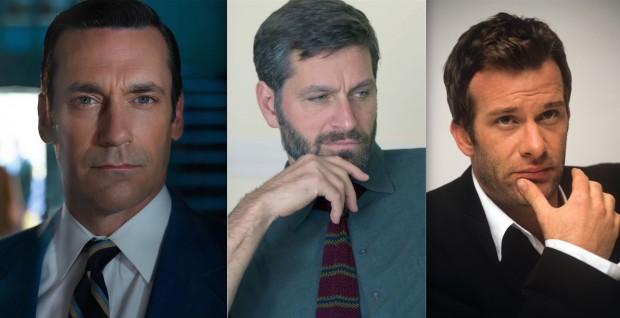 Executivos da emissora AMC não se empolgaram com a sugestão do nome de Jon Hamm para o papel de Don Draper. Os atores Peter Hermann e Thomas Jane também foram cogitados. (Fotos: Frank Ockenfels 3/AMC e Divulgação)