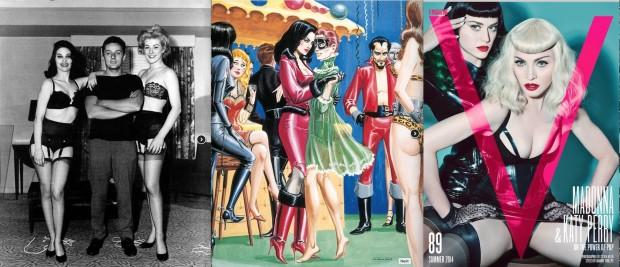 Eric Stanton e duas modelos em 1961; ilustração de seu livro Desire and Discipline, de 1965; Madonna e Katy Perry se transformam em dominatrix na capa da revista V (Foto: Cortesia Taschen; Cortesia Revista V)