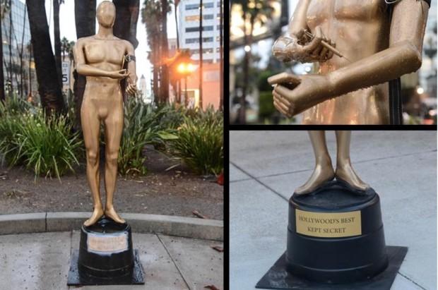 A estátua do Oscar injetar do heroína, criada pelo artista de rua, logo após a morte do ator Phillip Seymour Hoffman, no ano passado. (Foto: Cortesia Plastic Jesus)