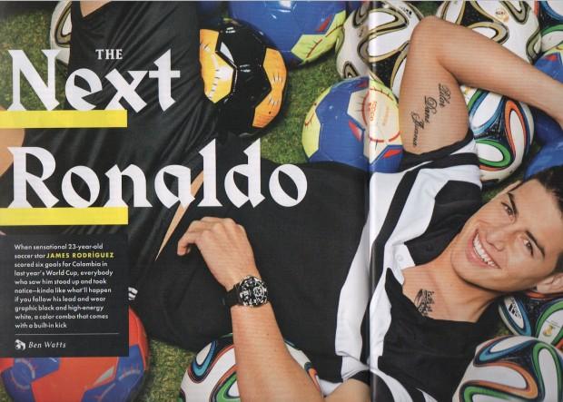 James Rodríguez veste camiseta Givenchy de Riccardo Tisci em ensaio fashion na revista GQ de maio. (Foto: Reproducão)