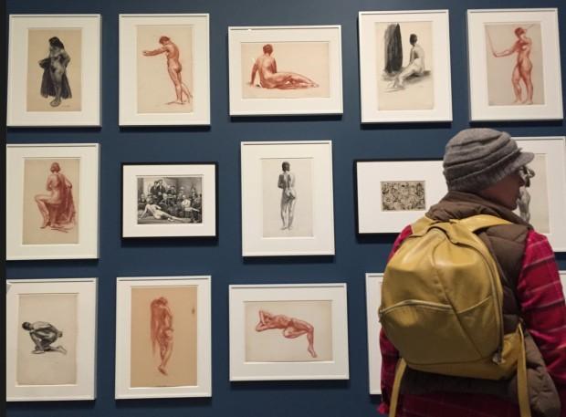 Hoppers bem diferentes: desenhos de nus feitos pelo artista, quando estudava com Gertrude Stein, na rua 8, a poucos quarteirões da atual sede do Whitney, entre 1920 e 1925. (Foto: Marcelo Bernardes)