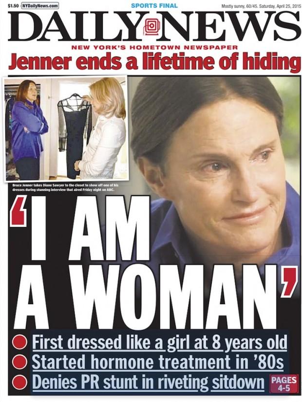 Primeira página do jornal Daily News deste sábado, com detalhe de Diane Sawyer conferindo o vestido que Bruce Jenner usaria num jantar privado feito para a apresentadora da rede ABC. (Foto: Reprodução)