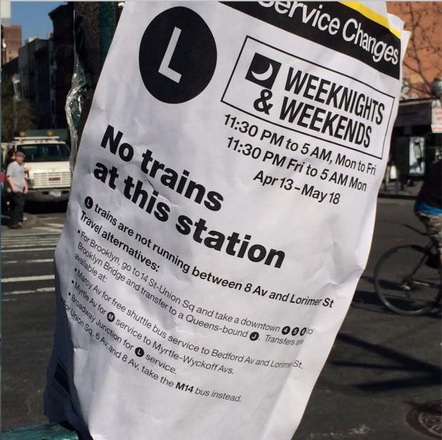 Até dia 18 de maio, ninguém pode ir a bairros descolados como Williamsburg, no Brooklyn, se utilizando da linha L. (Foto: Milly Lacombe)