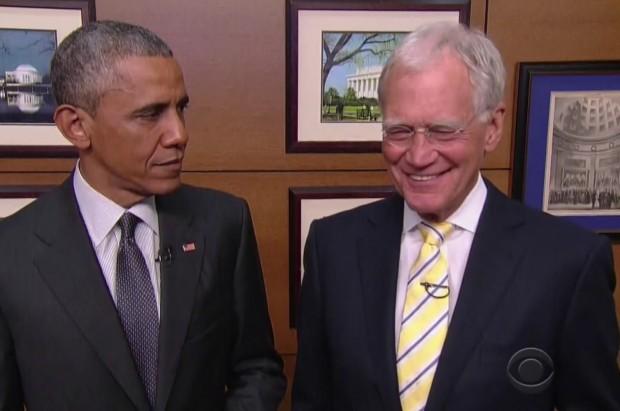 Barack Obama na abertura do último programa de Letterman.