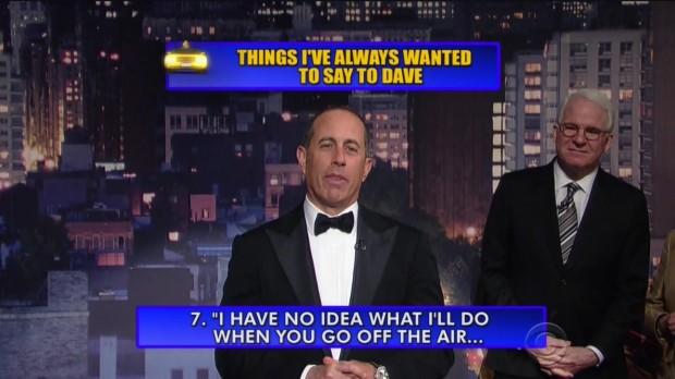 Jerry Seinfeld lê sua fala do Top 10 List.