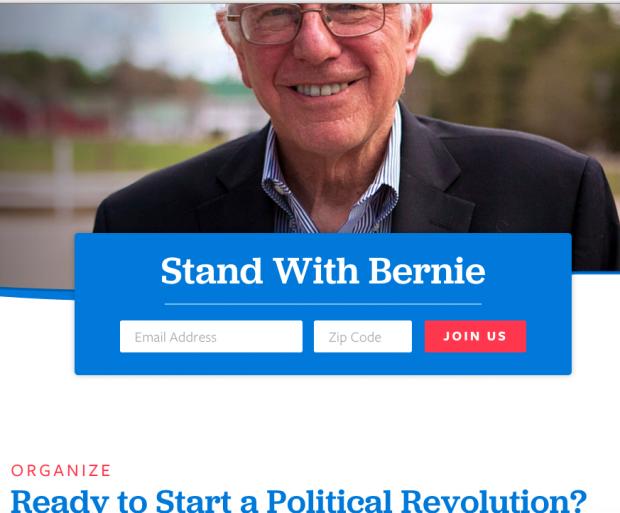 Página inicial do website de Bernie Sanders