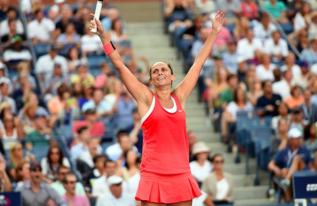 Roberta Vinci comemora vitória sobre Serena Williams. (Foto: Pete Staples/USTA)
