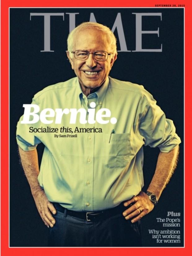 Bernie Sanders, pré-candidato a presidência dos Estados Unidos, ganhou a capa da Time desta semana e é queridinho da Hollywood cool - principalmente dos guitarristas! (Foto: Reprodução)