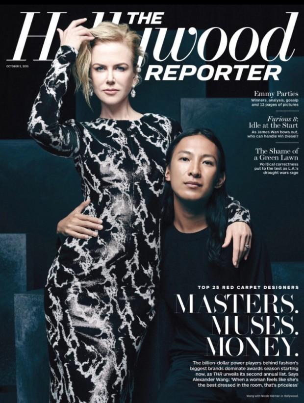 Nicole Kidman e o designer Alexander Wang na capa do Hollywood Reporter desta semana. (Foto: Divulgação)