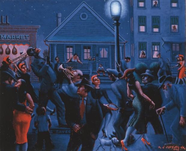 """Tela """"Gettin' Religion"""", de 1948, retrata com ousadia e cores fortes a vida negra americana em grande centro urbano. (Foto: Divulgação)"""