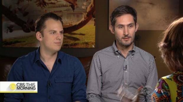 Mike Kreiger e Kevin Systrom, co-fundadores do Instagram, em entrevista a Gayle King, da rede CBS. (Foto: Reprodução)