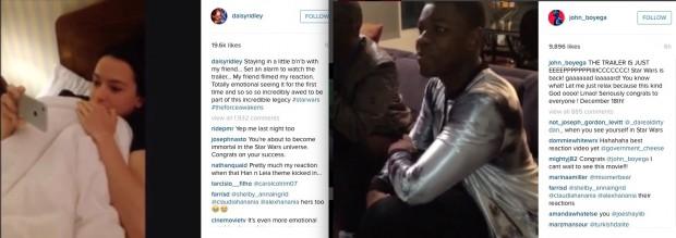 """Novos atores de """"Star Wars"""", Daisy Ridley e John Boyega, reagem no Instagram. (Foto: Reprodução)"""
