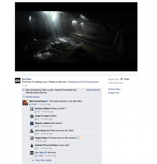 """O comentário de Mark Zuckerberg sobre o trailer de """"Star Wars"""" no Facebook. (Foto: Reprodução)"""