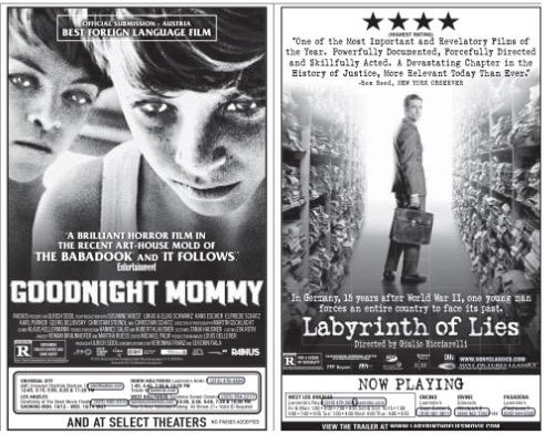 """""""Goodnight Mommy"""" e """"Labirinto de Mentiras"""", representantes da Áustria e Alemanha, já estão em cartaz nos EUA. A produção alemã também está entre os favoritos deste ano. (Foto: Reprodução)"""