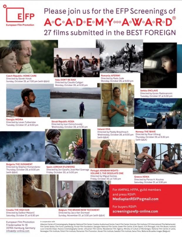 """Grupo que promove filmes europeus fizeram anúncio de duas páginas na última edição da revista """"The Hollywood Reporter"""", chamando a atenção dos votantes da Academia de Hollywood para a exibição de 27 filmes. (Foto: Reprodução)"""