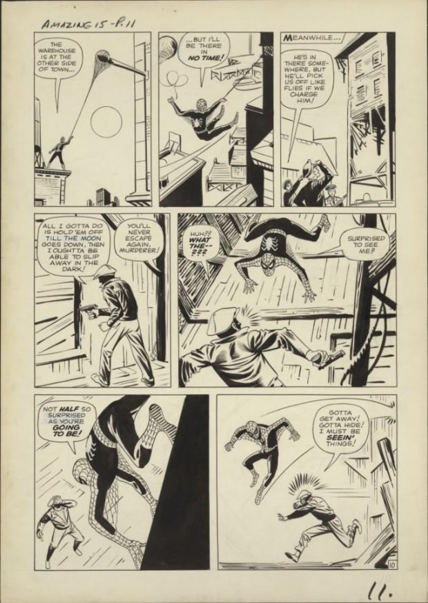 """Original de O Homem-Aranha, criado por Steve Ditko, e que apareceu na revista em quadrinhos """"Amazing Fantasy"""", em 1962. (Foto: Cortesia Library of Congress, Washington D.C.)"""