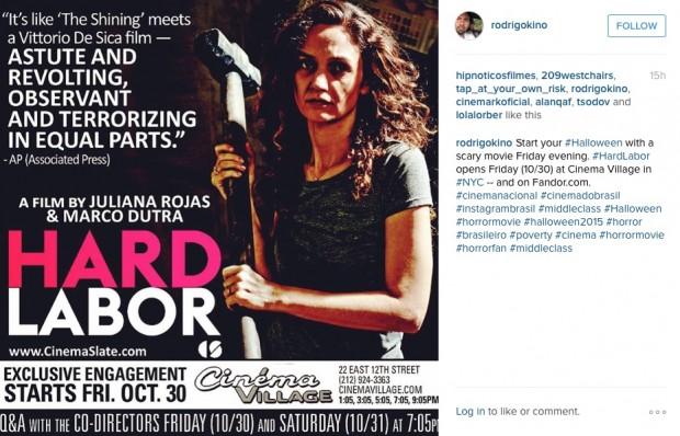 """Distribuidor Rodrigo Brandão publica foto do pôster de """"Trabalhar Cansa"""" em sua conta no Instagram. (Foto: Reprodução)"""