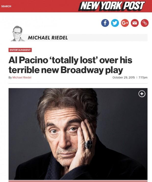 Artigo de Michael Riedel diz  o público tem abandonado algumas encenações da peça. (Foto: Reprodução)