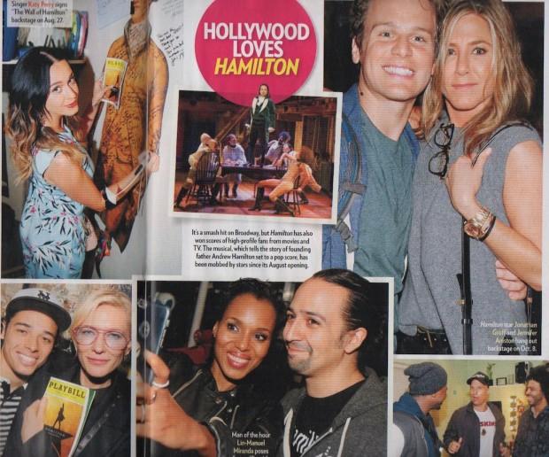 """As celebridades que já viram """"Hamilton"""" na Broadway e visitaram o elenco no camarim para fazer selfies: Katy Perry, Jennifer Aniston, Cate Blanchett, Matthew McConaughey, Kerry Washington. (Foto: Reprodução)"""
