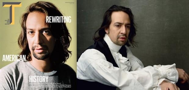 """Lin-Manuel Miranda na capa da revista de estilo do jornal """"New York Times"""" e nas páginas da edição americana da """"Vogue"""". (Foto: Reproducão)"""