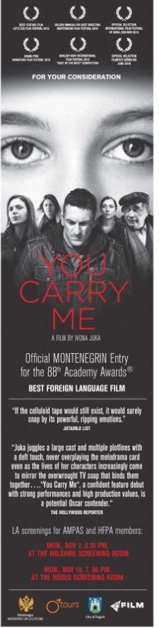 """Campanha do filme """"You Can Carry Me"""", de Ivona Juka e representante de Montenegro, também visa os votantes do Globo de Ouro"""