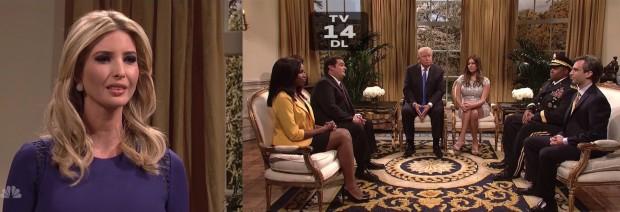 Ivanka Trump, secretária da decoracão de interiores do governo Trump, visita o pai no salão oval da Casa Branca, em 2018. (Foto: Reprodução)