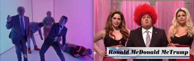 Trump dança e faz solo de rap num video de Drake; um esquete mostra o candidato Ronald McDonald Trump ao lado de duas garotas de programa. (Foto: Reprodução)