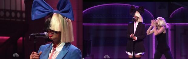"""A cantora Sia em suas duas apresentações no """"SNL"""". (Foto: Reprodução)"""