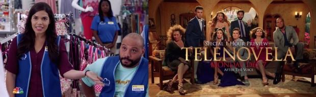 """NBC aproveitou os comerciais para fazer média com os latinos, apresentando dois novos programas direcionados a eles: """"Superstore"""", com America Ferrera, e """"Telenovela"""", produzido e estrelado por Eva Longoria. (Foto Reprodução)"""