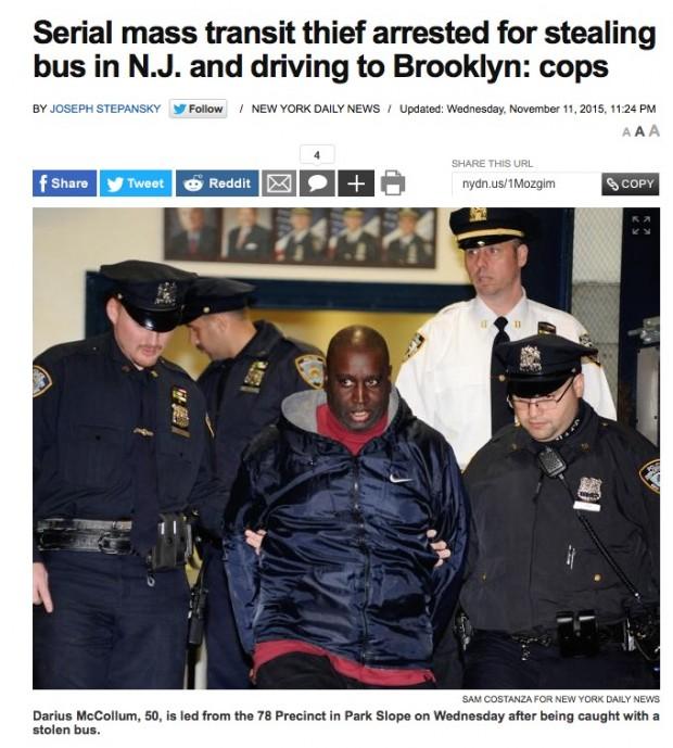 """Detalhe da matéria do jornal novaiorquino """"Daily News"""", sobre a prisão de McCollum. Na foto, ele deixa a delegacia do bairro de Park Slope, no Brooklyn. (Foto: Reprodução)"""