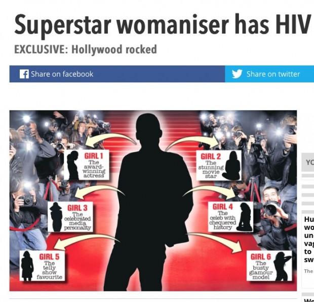 """O artigo do """"The Sun"""" foi não mencionou o nome das atriz que tiveram relacionamentos com o ator não identificado. (Foto: Reprodução)"""