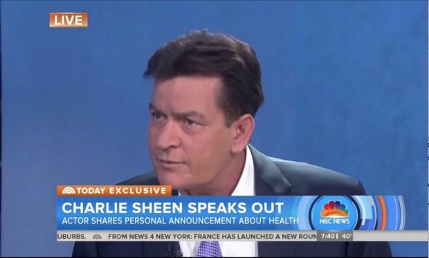 """Ator Charlie Sheen hoje cedo no programa """"Today"""" (Foto: Reprodução)"""