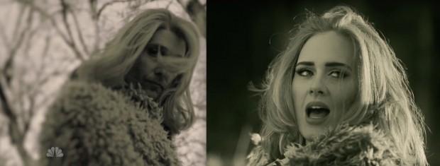 """A """"Adele"""" de Matthew McConaughey e a Adele no video oficial de """"Hello"""". (Foto: Reprodução)"""