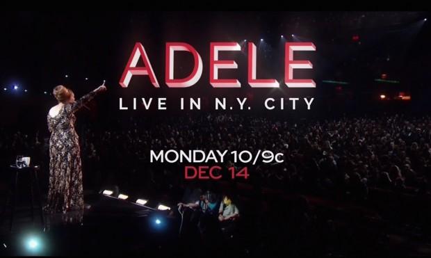 Propaganda do show especial de Adele, gravado em Nova York, a ser apresentado pela rede NBC em dezembro. (Foto: Reprodução)