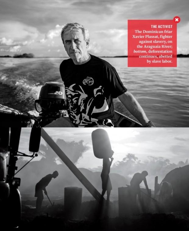 """O padre francês Xavier Plassat ganha perfil na nova edição da """"Vanity Fair"""". Na foto superior, no Rio Araguaia, Plissat é fotografado pelo autor do artigo, William Langewiesche; a segunda foto é de Kay Chernush/Free The Slaves."""