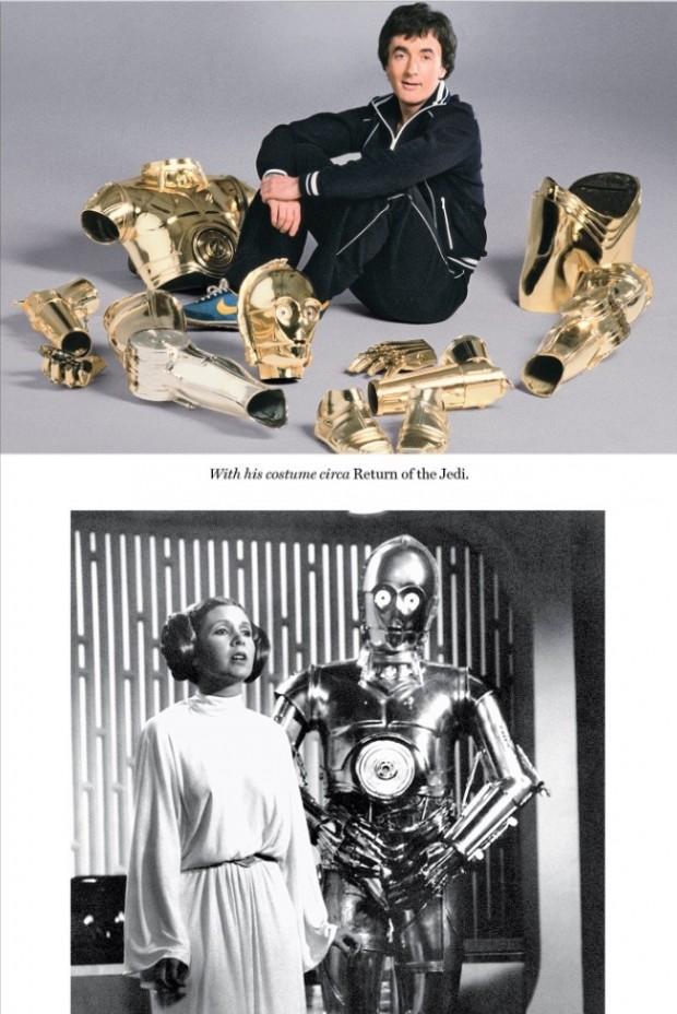 """Daniels em foto promocional para """"O Retorno de Jedi"""" e ao lado de Carrie Fisher. (Fotos: Reprodução)"""