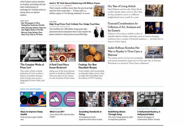 """Exemplo de publicidade nativa (no pé da página) da página principal do """"New York Times"""". A empresa produziu recentemente seu 100o. anúncio de conteúdo patrocinado. (Foto: Reprodução)"""
