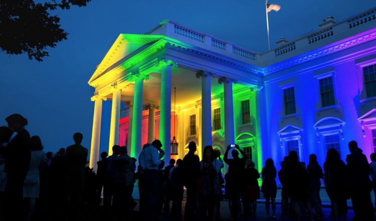 "June 26, 2015 ""It was a festive atmosphere as the White House was lit with the colors of the rainbow in celebration of the Supreme Court ruling on same-sex marriage. I chose this angle from several options because I like that much of the White House staff had stayed late on a Friday night to take part in the celebration."" (Official White House Photo by Pete Souza)"