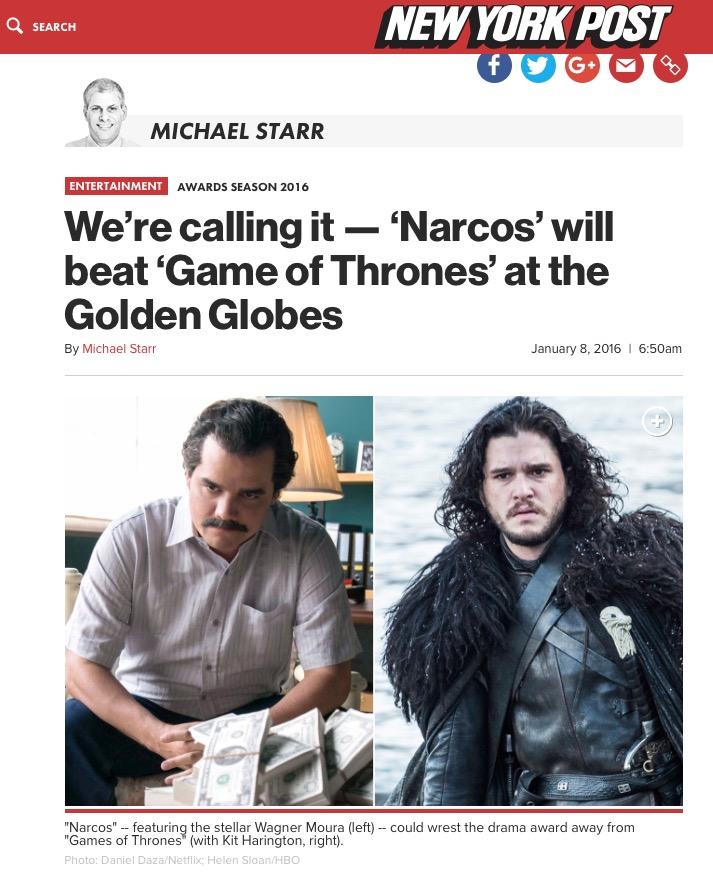"""Crítico do """"New York Post"""" aposta em """"Narcos"""" e Wagner Moura para o Globo de Ouro de melhor série e ator dramático de TV. (Foto: Reprodução)"""