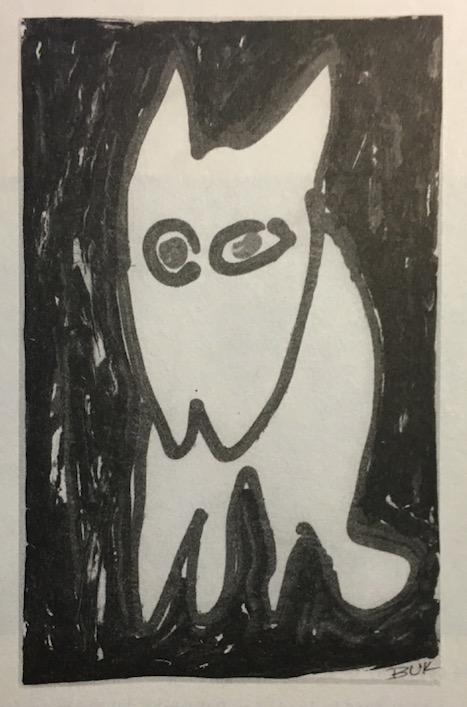 Uma das tentivas frustradas de Bukowski desenhar um gato. (Foto: Linda Lee Bukowski)